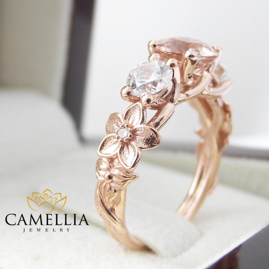 Mariage - 3 stone ring 14K Rose Gold 3 Stone Engagement Ring Rose Gold Morganite Three Stone Ring