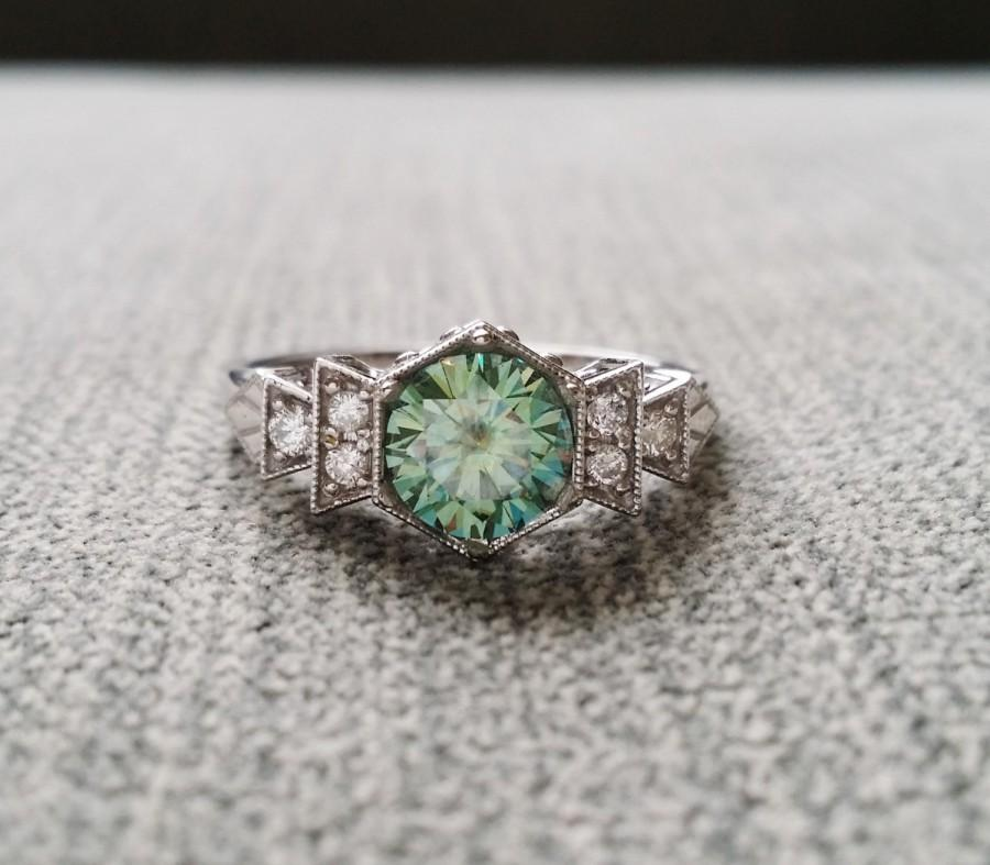 "Wedding - Antique Diamond Mint Moissanite Engagement Ring White Gold 1920s Gemstone Rustic Bohemian PenelliBelle Blue Green Exclusive ""The Florence"""