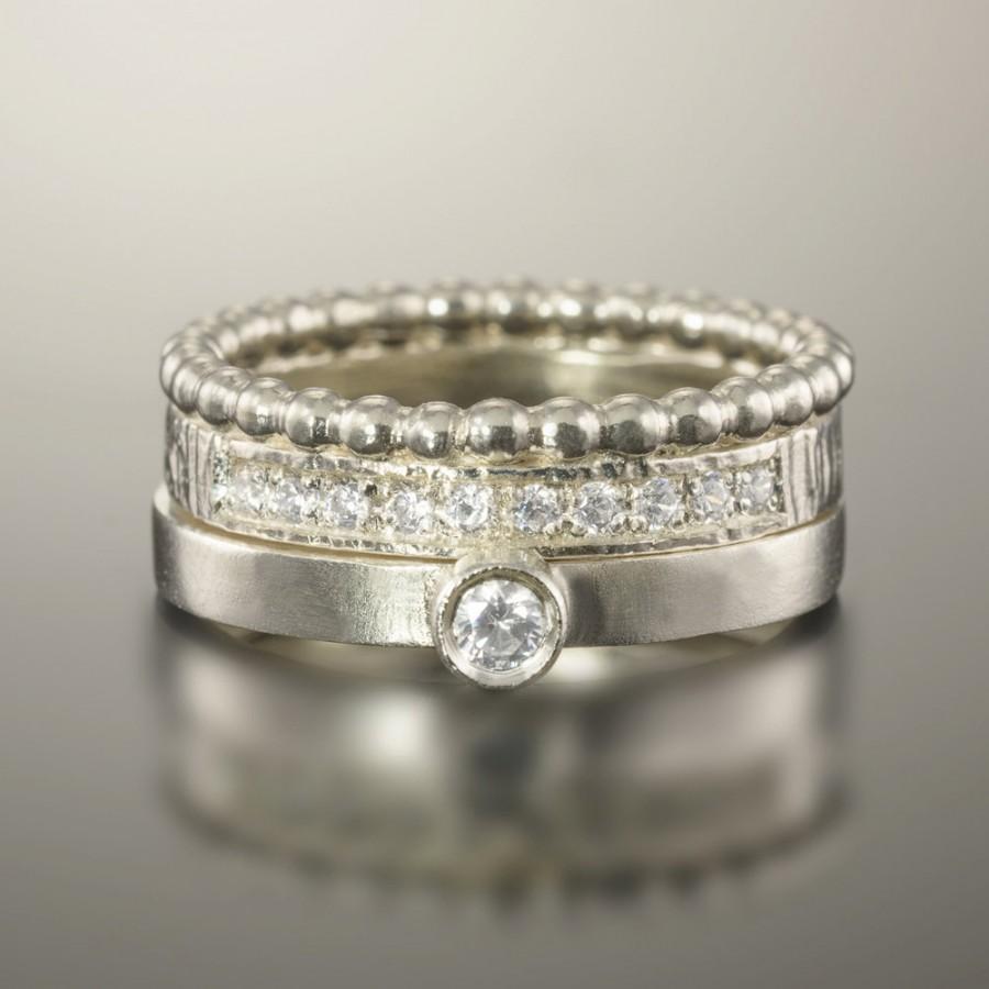 زفاف - Engagement ring and wedding band,  Bridal ring, Diamond wedding set, Wedding ring set, 14K White Gold Diamond rings, Gold & diamond ring set