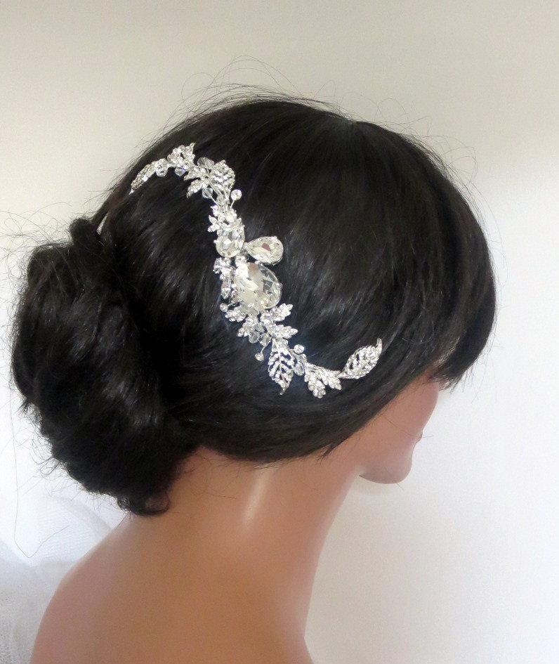 Mariage - Bridal hair vine, Wedding headpiece, Swarovski crystal hair comb, Bridal hair comb, Leaf hair vine, Vintage style hair comb