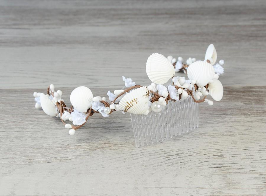 Seashell Headpiece Beach Wedding Hair Accessories Bridal Headband Crown Sea Shell Comb Nautical Boho Bohemian Tiara