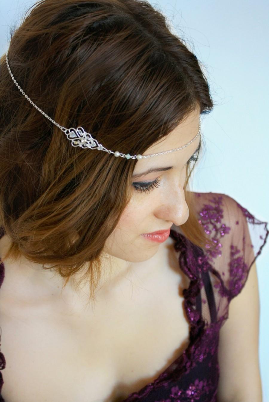 زفاف - Art Deco bridal headchain jewelry Filigree headband Crystal chain, silver chain hair jewelry,Forehead headband,boho headband,Gatsby, 20's