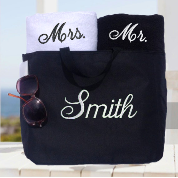 Mariage - Couples Towel and Tote Gift Set!  Wedding Gift, Bridal Shower, His and Hers Towel and Tote Set!
