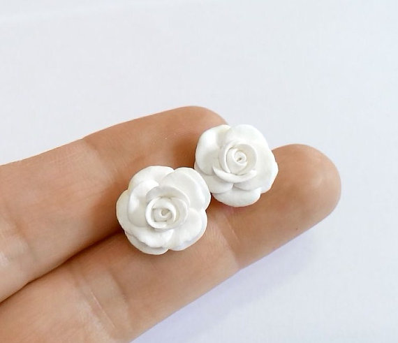 White rose stud earrings white wedding jewelry small flower stud white rose stud earrings white wedding jewelry small flower stud earrings jewelry bride white white flower mightylinksfo