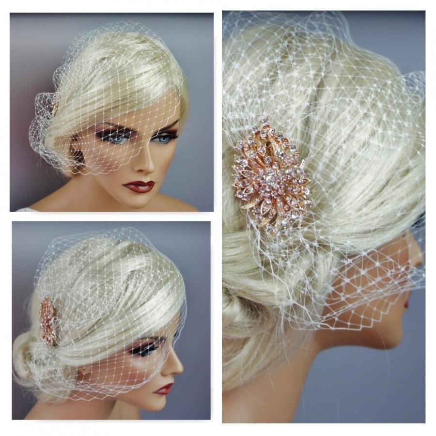 زفاف - Rose Gold Or Silver Vintage Style Brooch Birdcage, Bandeau Or Blusher Veil, Bride Detachable Comb, Bandeu Blusher-