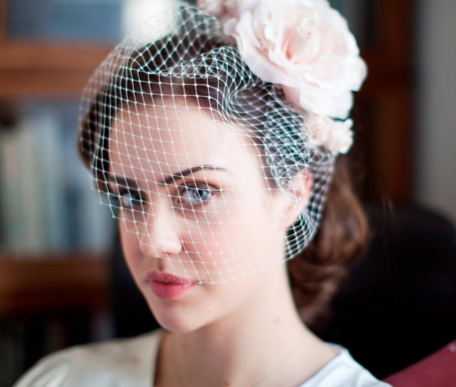 333ae2cc164e8 Birdcage Veil and silk flower fascinator set for Vintage Bride -1940s  bride