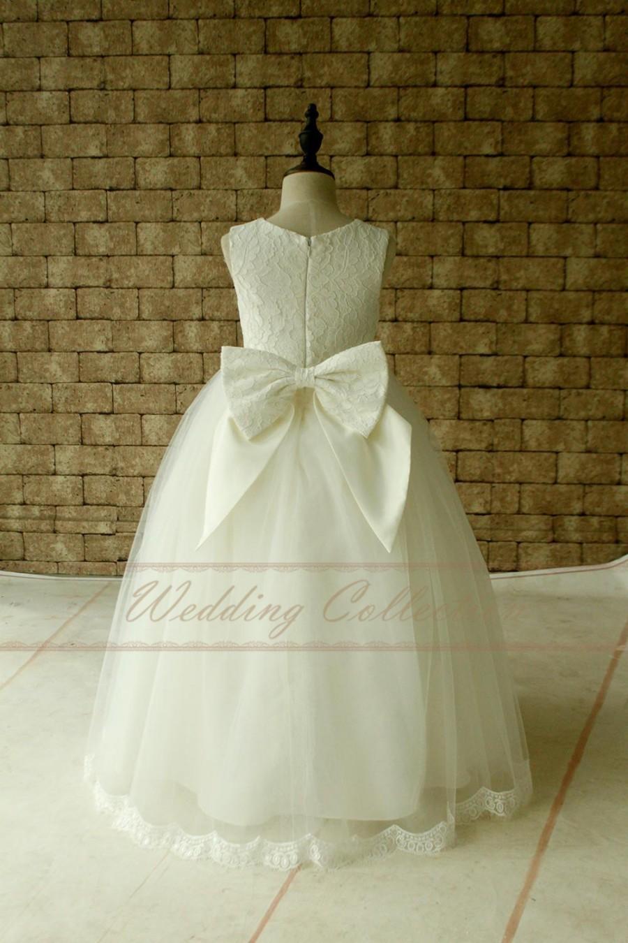 Hochzeit - Ivory Lace Tulle Flower Girl Dress Floor Length , Baby Girl Flower girl Dress