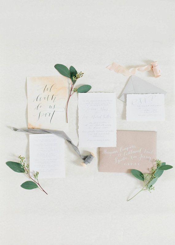 زفاف - Custom Organic Calligraphy Invitation Printed On Cotton Hand Torn Paper Simple Invitation Handwritten Invitation With Calligraphy