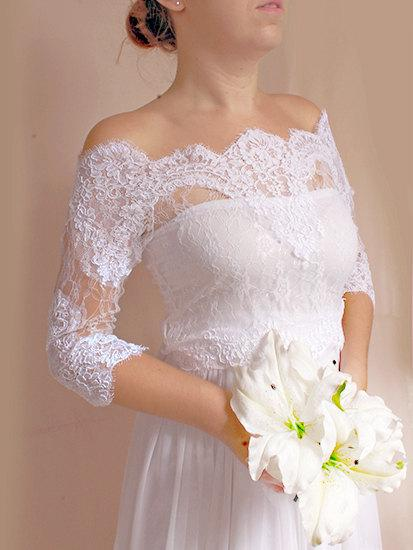 Свадьба - Bridal lace  bolero  Off-Shoulder / French Lace /wedding jacket/  shrug/ lace top