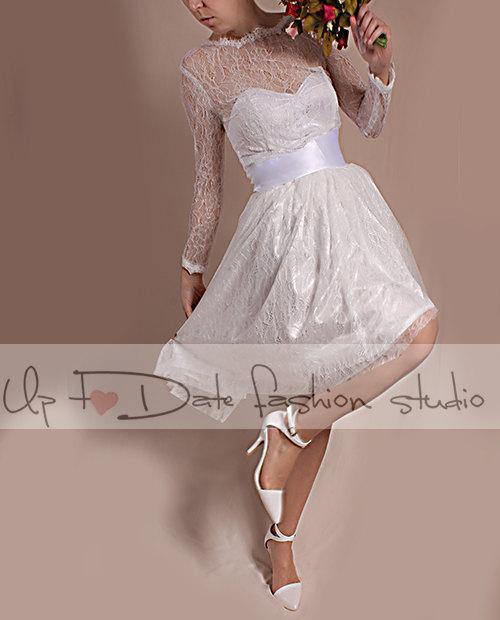زفاف - Lace short  Wedding /reception/ party  /chantilly lace dress/ long  Sleeves Bridal Gown