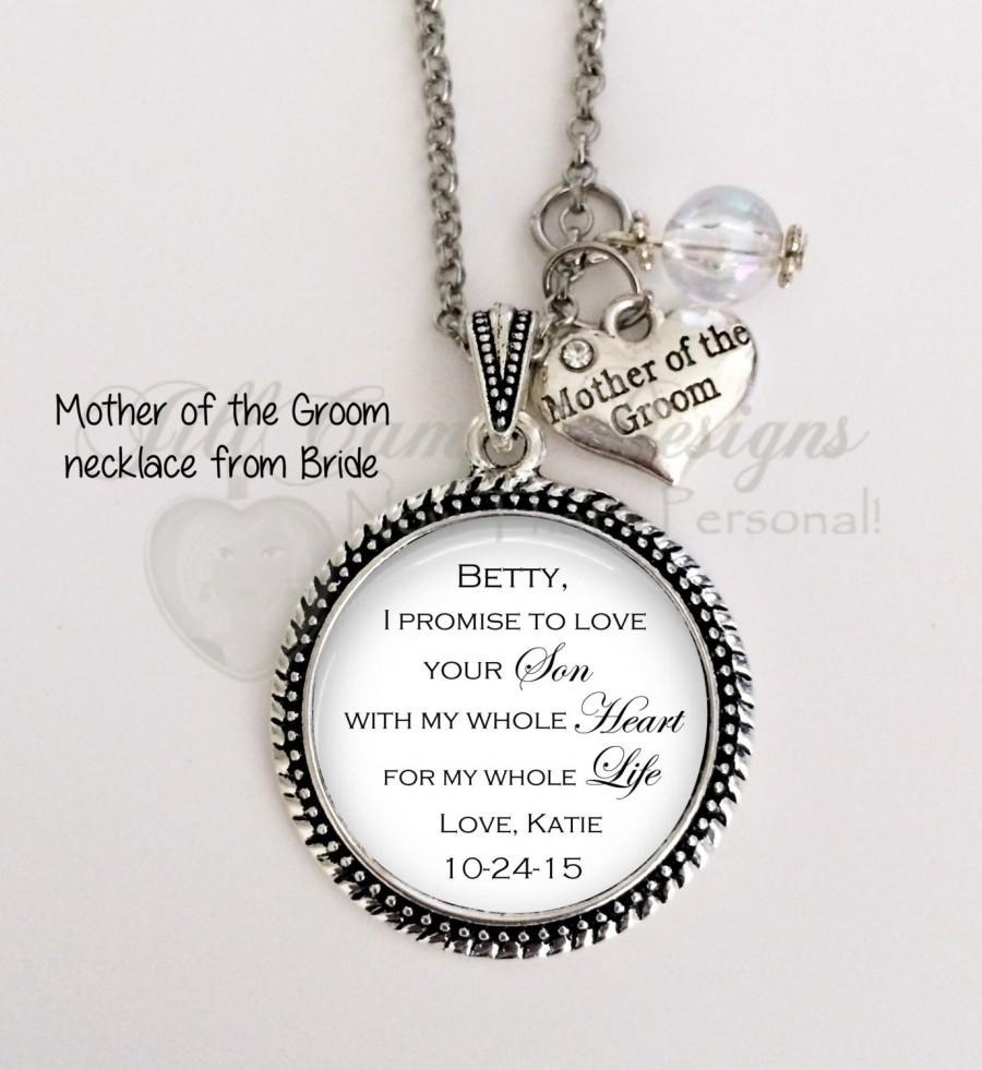 "زفاف - Mother of the Groom gift - from Bride - ""I Promise to LOVE Your SON with my whole heart for my whole life"" - Mog necklace, wedding"