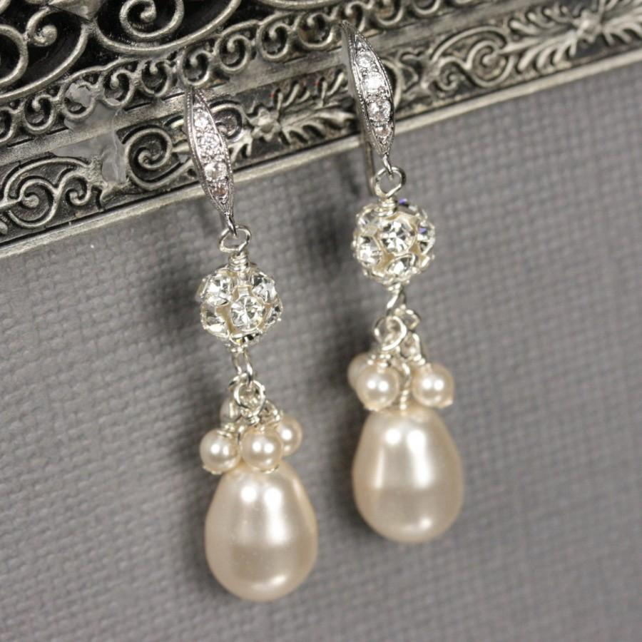 Teardrop Pearl Earrings Bridal Jewelry Rhinestone And Dangle Wedding White Or Ivory Drop