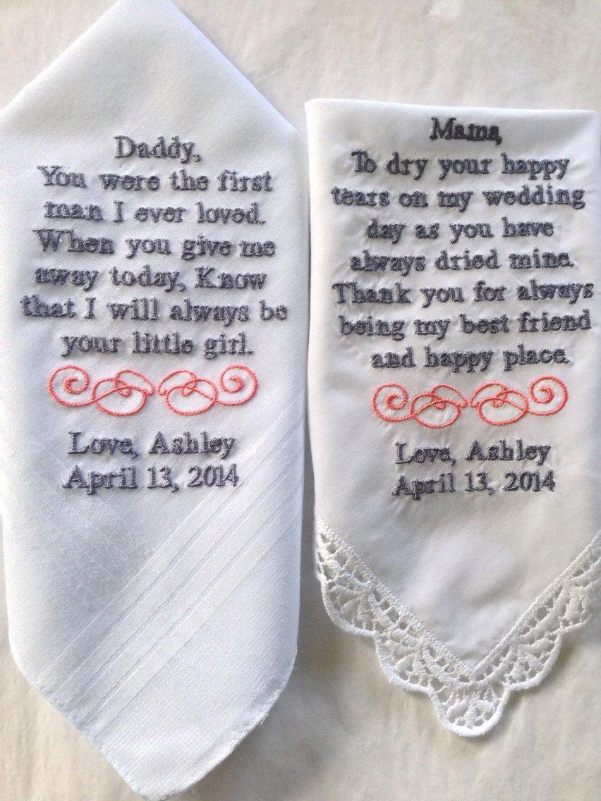 زفاف - Set of Two Personalized WEDDING HANKIE'S Mother & Father of the Bride Gifts Hankerchief - Hankies