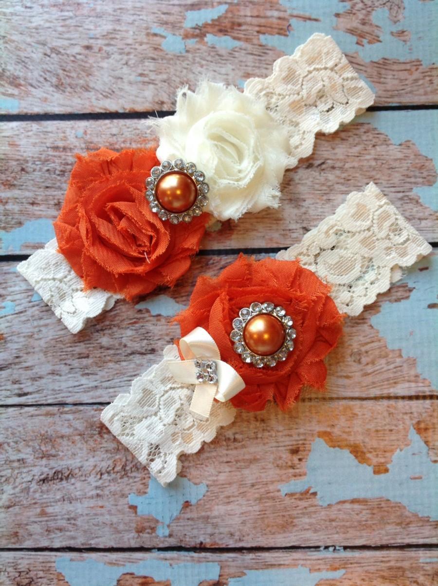 Hochzeit - BURNT ORANGE wedding garter set / bridal  garter/  lace garter / toss garter included /  wedding garter / vintage inspired