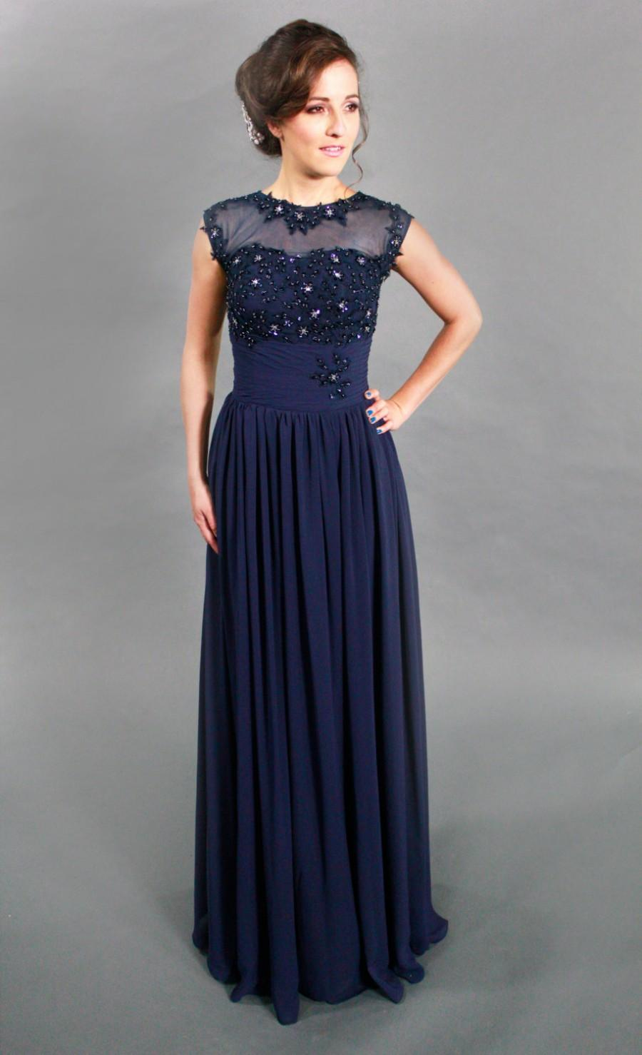 Mariage - High Quality Beaded illusion Lace Cap Formal Navy Evening Dress, Prom Dress