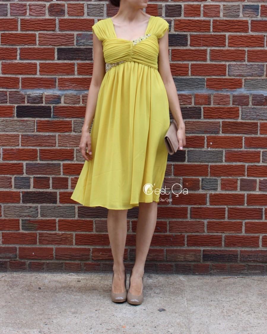 زفاف - SALE Ashley - Yellow Empire Waist Dress, Mustard Dress, Bridesmaids Dress, Beaded Dress, Prom Beaded Dress Gown, Maternity Cocktail Dress