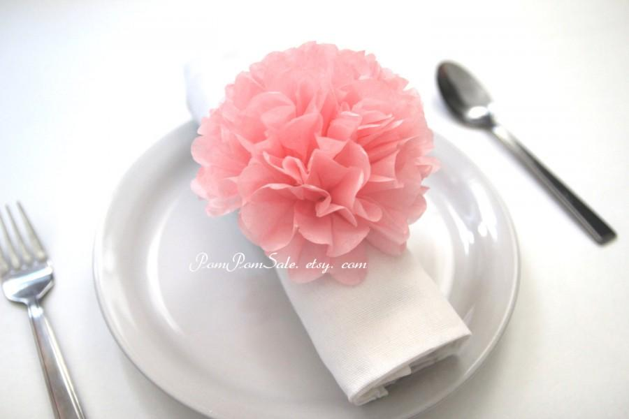 Mariage - Pre-fluffed 10 Napkin paper pom pom / Napkin rings ready to use- choose your colors - Baby Shower / Birthday Party / Wedding Decor