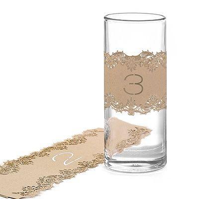 Mariage - Laser-Cut Table Number Wraps 1-10 - Kraft