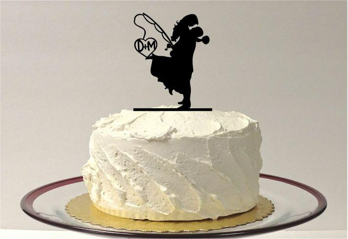 Fishing themed wedding cake topper personalized fishing for Fishing cake toppers