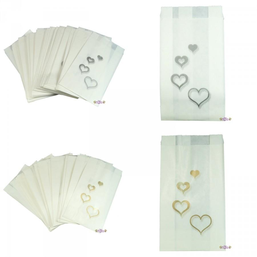 Свадьба - 50 x Wedding Cake Bags Silver or Gold Hearts Decoration Supplies FREE POSTAGE Australia Wide