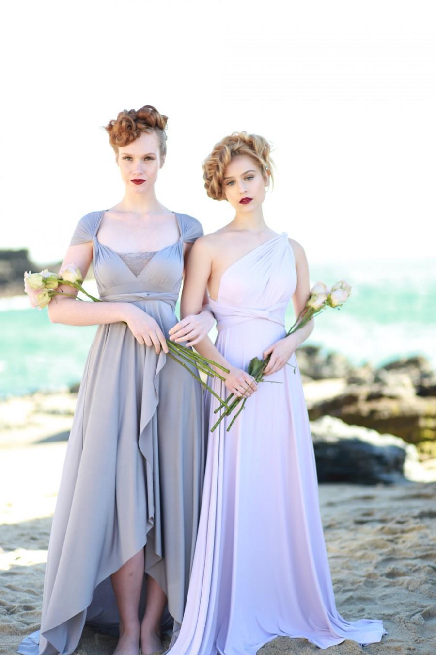 زفاف - Mismatched Bridesmaids~ Dockside Grey Satin- TULIP HEM CUT Octopus Convertible Infinity Wrap Dress~Bohemian Bridal, Beach Wedding