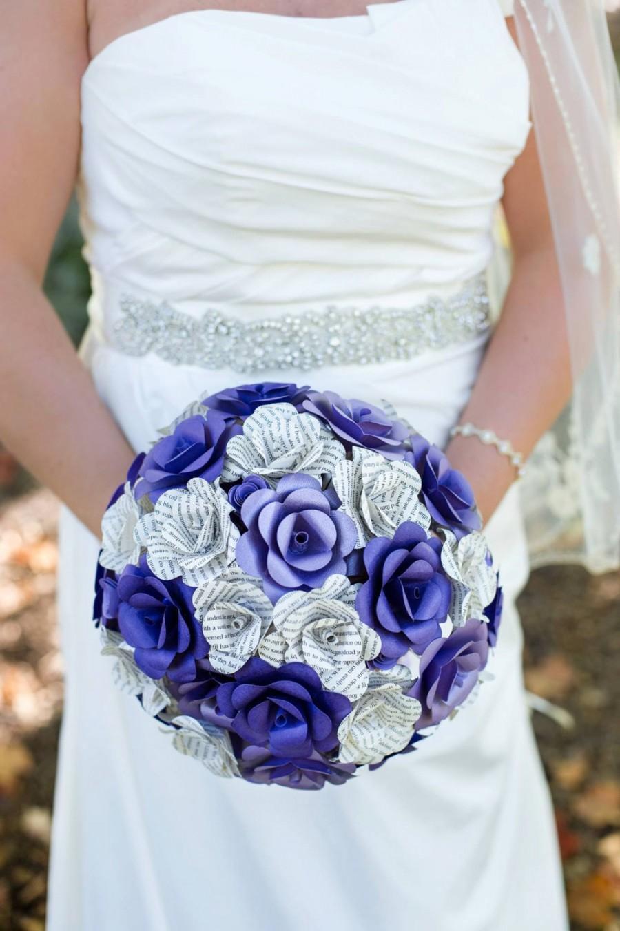 Wedding - Book and card stock paper flower bouquet