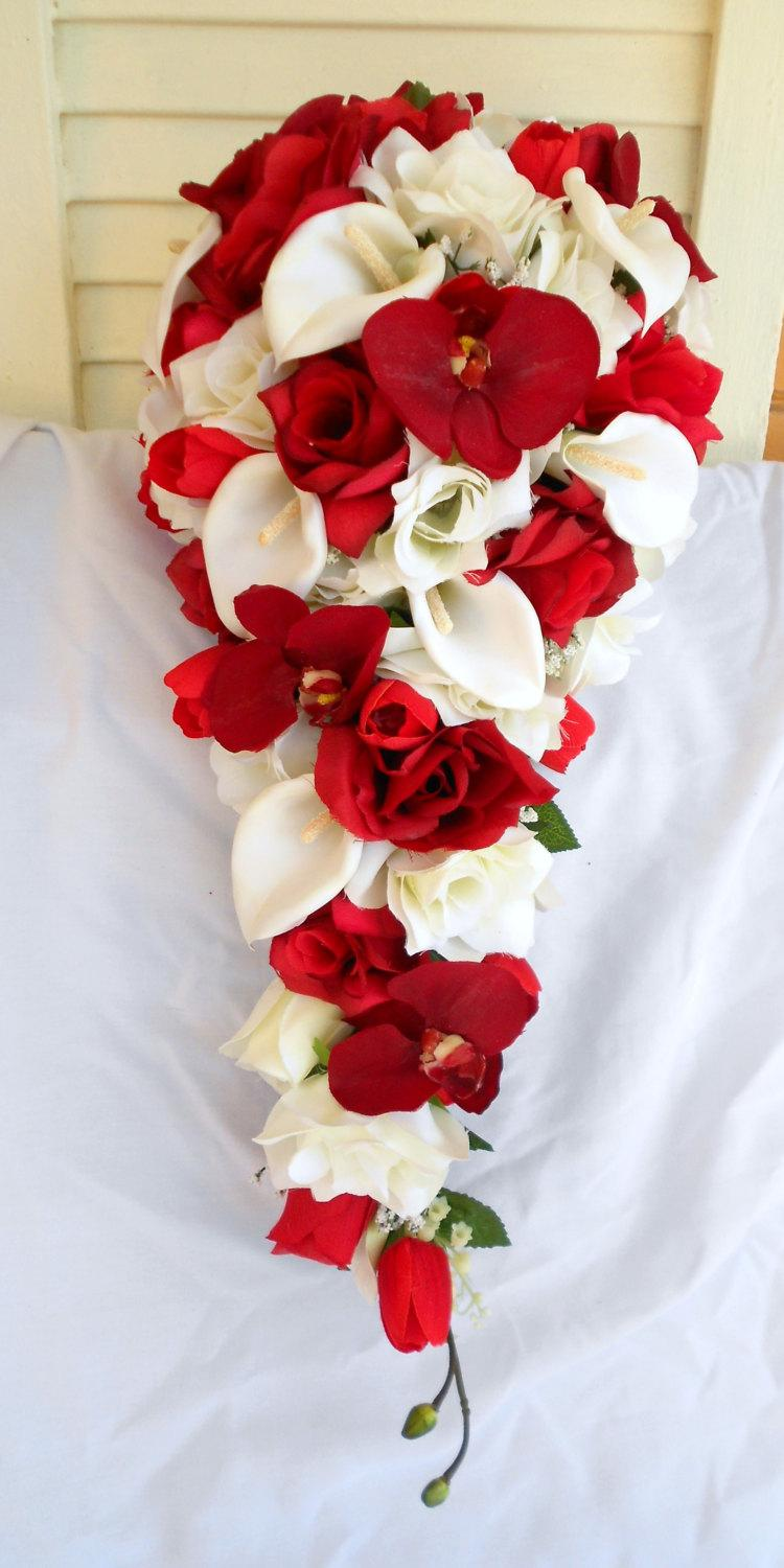 Red Orchids Silk Cascade Bouquet With Ivory Roses And Calla Lilies ...