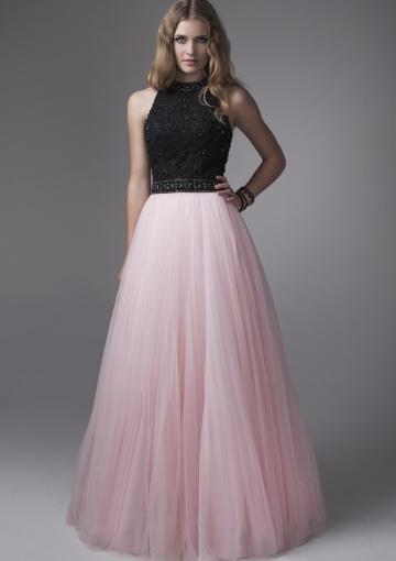 Свадьба - Zipper Black Pink Tulle A-line Sleeveless Halter Crystals Ruched Floor Length