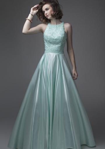 Свадьба - Ruched Straps Floor Length Mint Appliques Zipper Satin Sleeveless Ball Gown