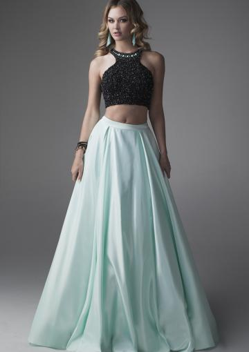 Boda - Halter Two-piece Beading Mint Satin Sleeveless Ruched Floor Length Ball Gown