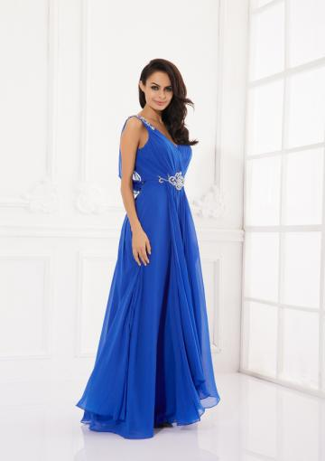Свадьба - Blue Appliques V-back Chiffon Ruched A-line Sleeveless Floor Length Straps