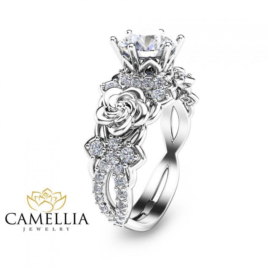 Wedding - 14K White Gold Moissanite Engagement Ring Unique Moissanite Engagement Ring Floral Engagement Ring