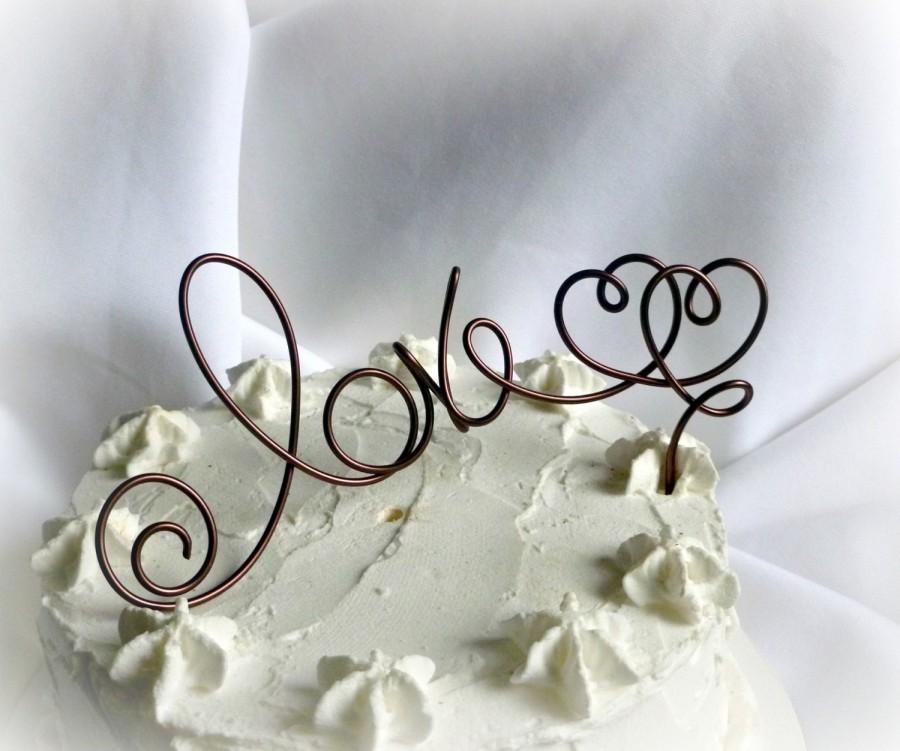 Свадьба - Wedding Rustic Decor, Love Cake Topper, Choose Your Color