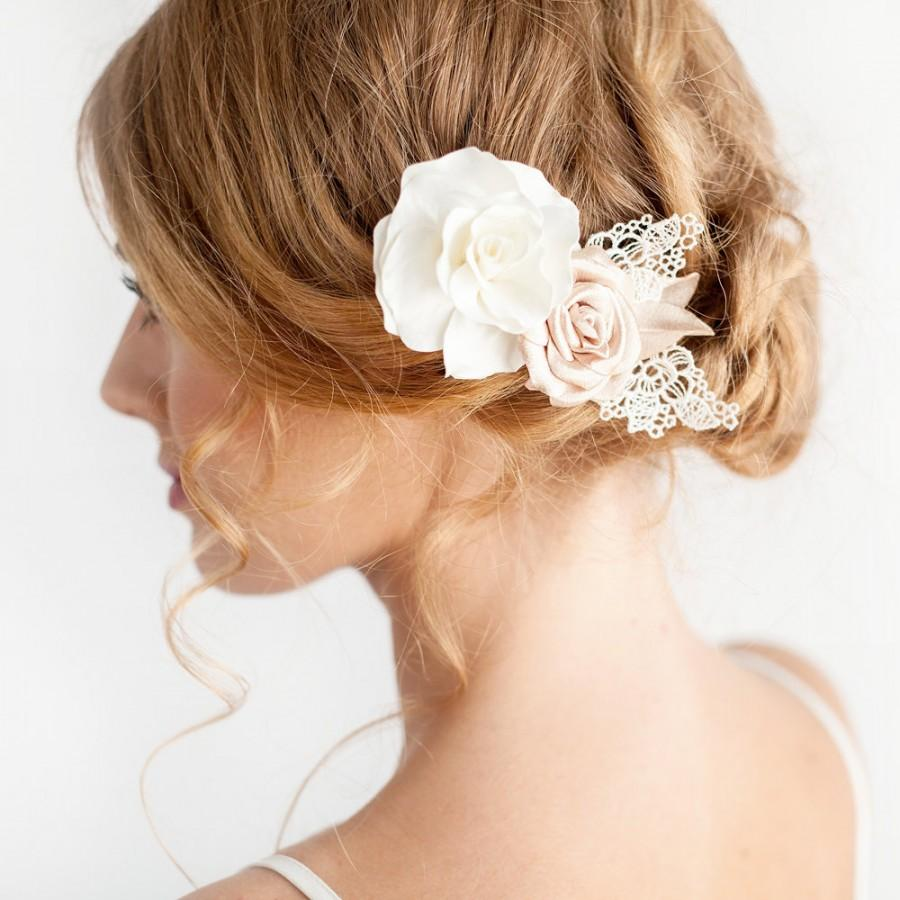 Hochzeit - Rose Hair Piece Ivory Gold - Bridal Hair Piece - Bridal Rose Hair Comb - Bridal Hair Accessories