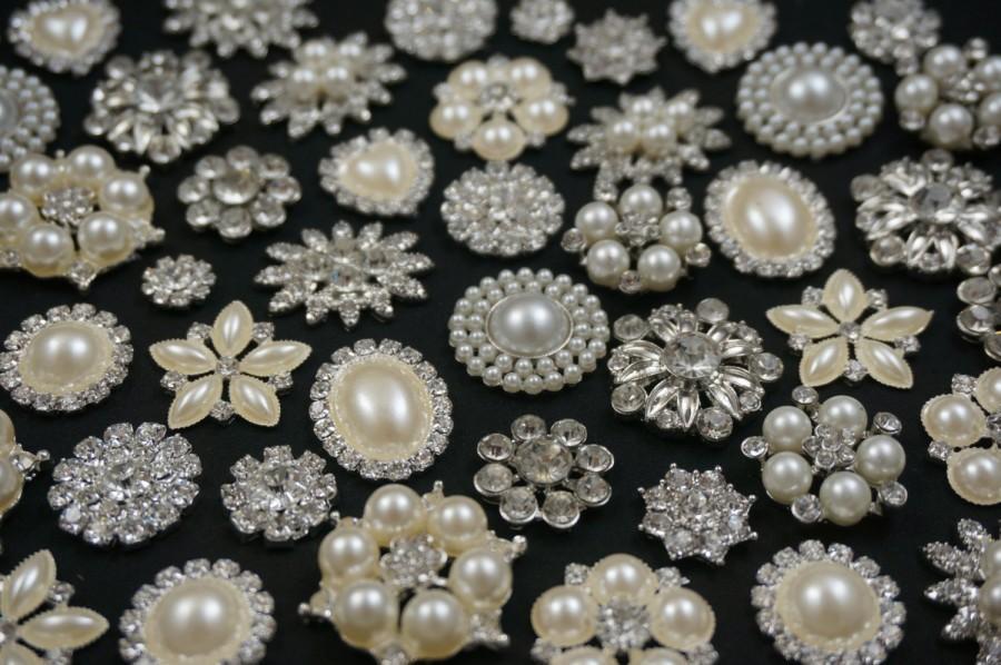Свадьба - Wholesale Bulk Lot 10-30 Rhinestone Crystal Pearl Flatback Buttons Bridal Wedding Bouquet