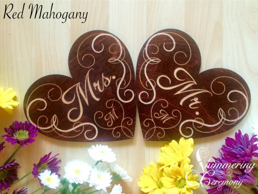 Mariage - Mr and Mrs laser engraved wooden signs wedding reception hanging chair decorations monogramed