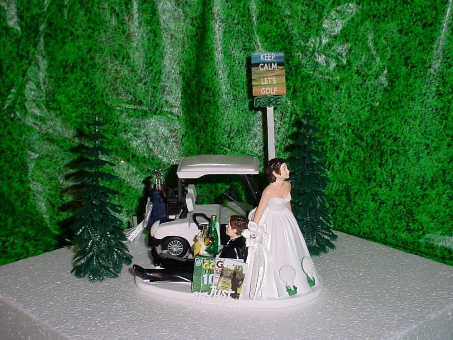 Hochzeit - GOLF Cart Sports Fan Groom Fun Green Wedding Cake Topper-Dress Bride Just Married - G4S
