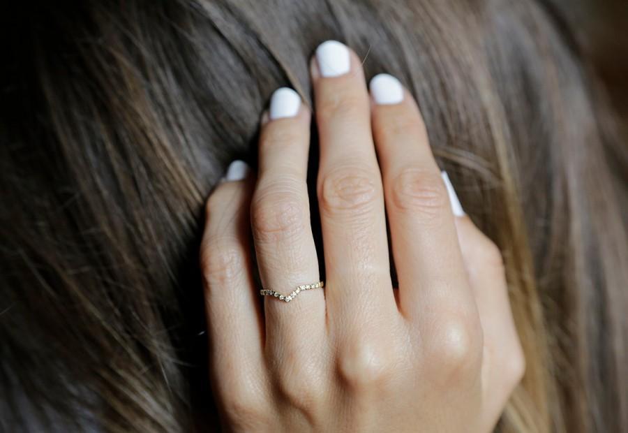 Pave Diamond Ring V Shaped Wedding Band Stacking Wedding Band