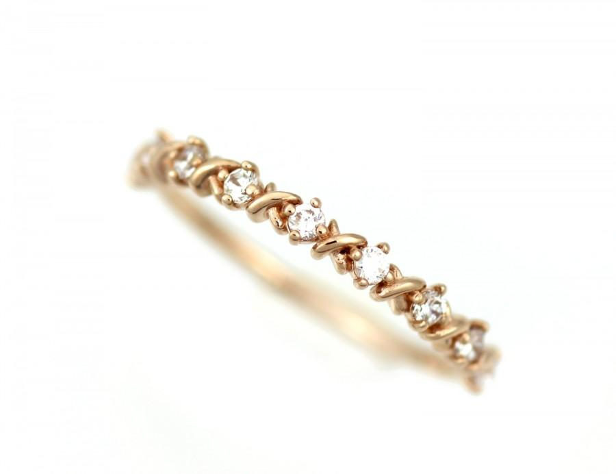 wedding band women diamond white gold ring engagement ring diamond band rose gold stacking ring 14k solid gold genuine white diamond ring