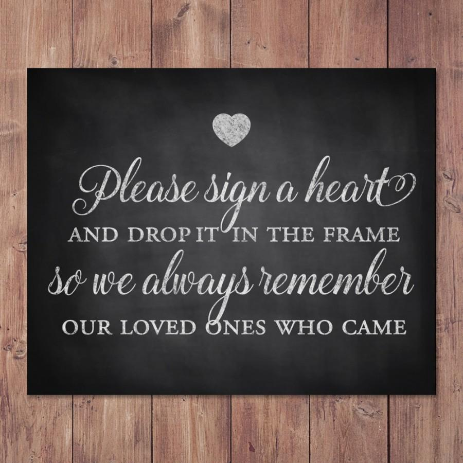 Rustic Wedding Guest Book Sign Please Sign A Heart And