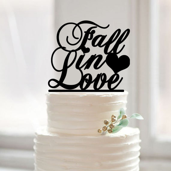 Hochzeit - Fall in love wedding cake topper,custom words cake topper,unique fall in love with heart cake topper wedding,rustic glitter cake topper42378
