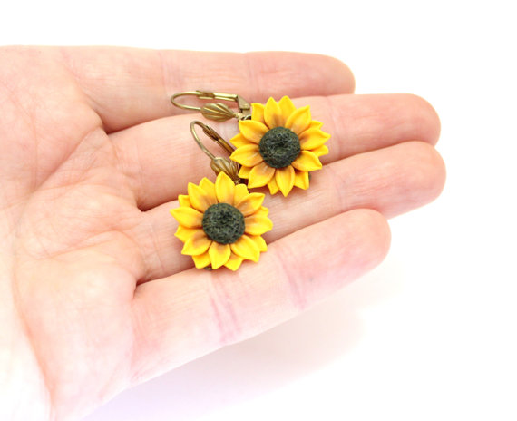Hochzeit - Yellow Sunflower Drop Earrings, Yellow Flower Drop Earrings, Jewelry Yellow Sunflower, Wedding Earrings, Summer Jewelry, Bridesmaid Jewelry