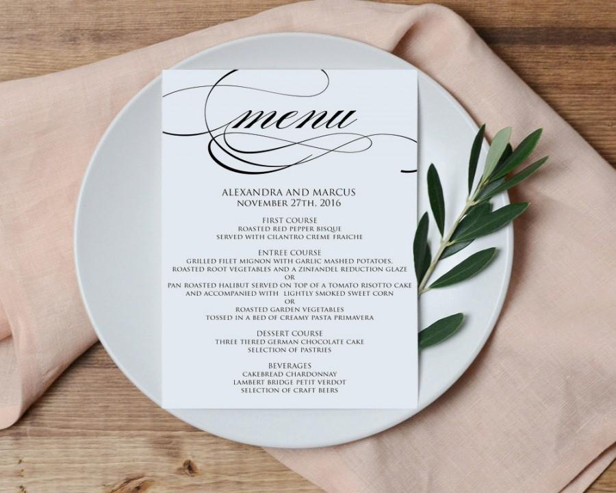 Wedding Menu Printable Template   Printable Menu   DIY Printable PDF  Instant Download, Formal, DIY, Dinner Menu Printable, WBWD6  Formal Dinner Menu Template