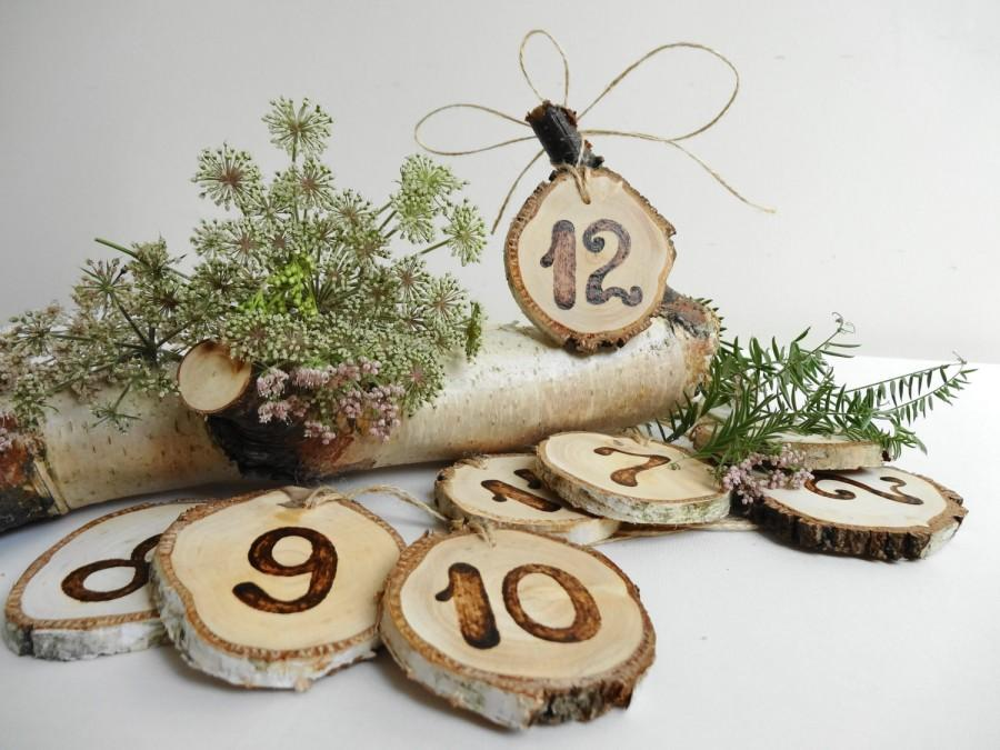Mariage - 1-12 Table Numbers, Wood Table Numbers, Rustic Table  Numbers, Wood Burned Table Numbers, Birch Table Numbers, 1-12 Table Numbers