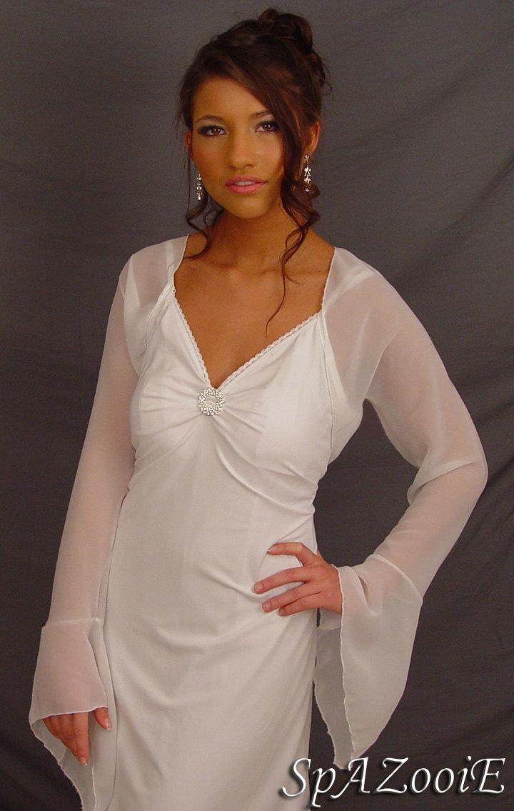 de0707b78326f White Chiffon Bridal Bolero Jacket Wedding Shrug Bell Sleeve ...