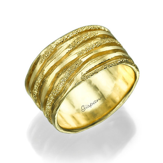 زفاف - Wedding Band Unique Wedding Band Glitter Ring Wedding ring Woman Wedding Ring  band ring Texture ring Art deco wedding band 14k gold ring