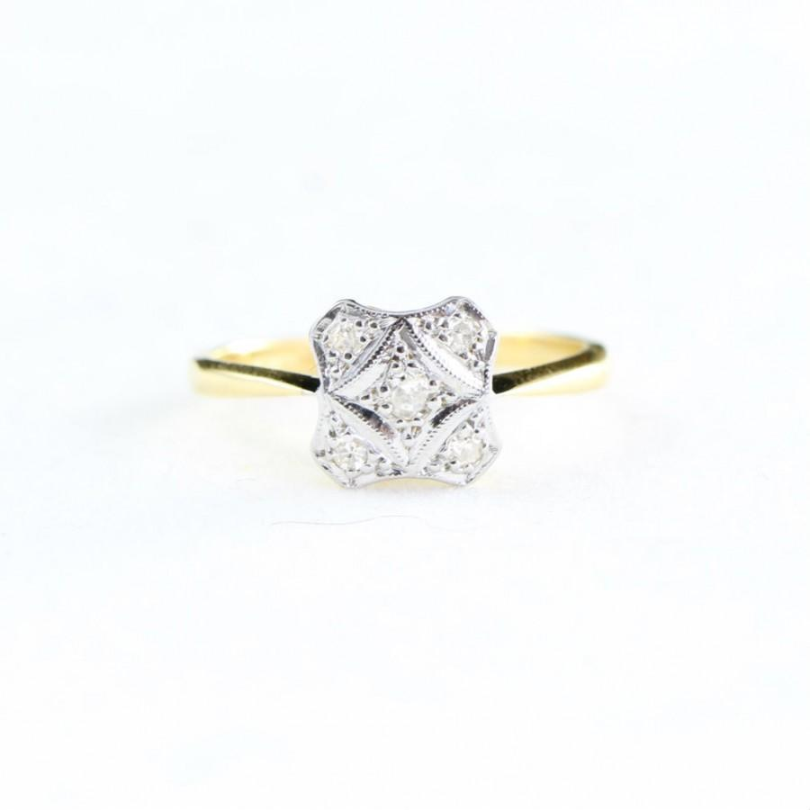 Wedding - Edwardian old cut diamond engagement ring in 18 carat gold and platinum for her