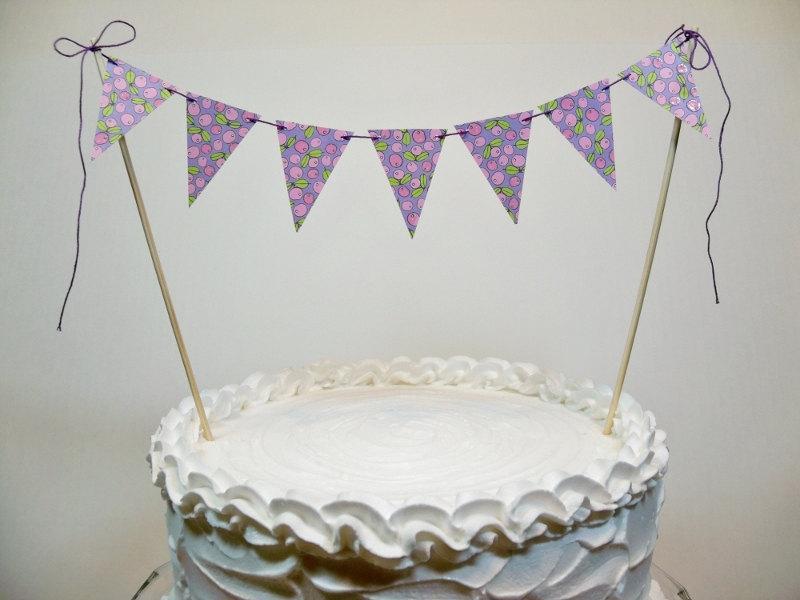 Свадьба - Cake Topper Banner Pastel Print Bunting Bridal Shower Anniversary Baby
