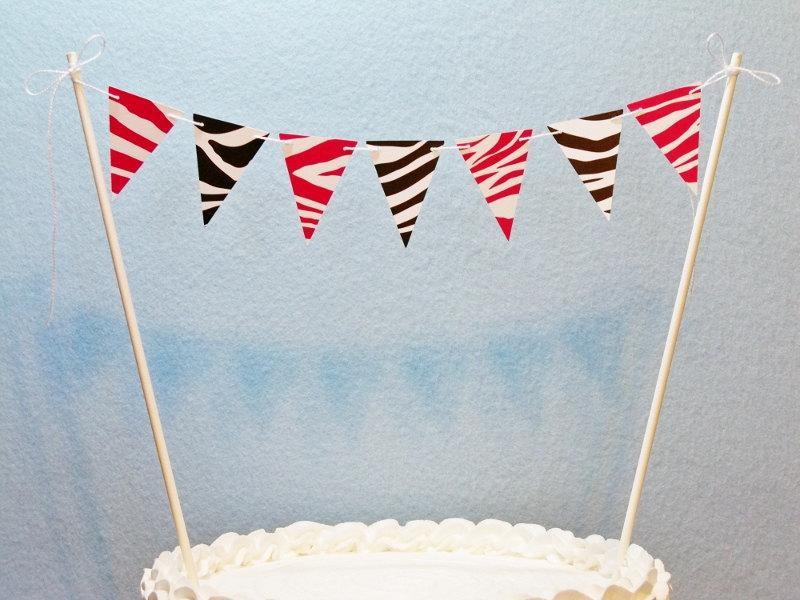 Свадьба - Zebra Cake Topper Banner, Hot Pink Black White