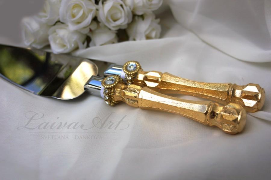 Gold Wedding Cake Server Set Knife Cake Cutting Set Wedding Cake